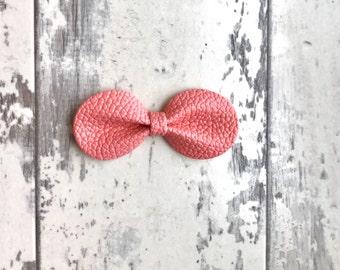 Bubble Gum Pink Gracie faux leather bow
