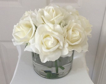 Real Touch White Rose and White Hydrangea Arrangement Set In Faux Water, Cream Real Touch Rose Centerpiece, Realistic Floral Areangement, Cr