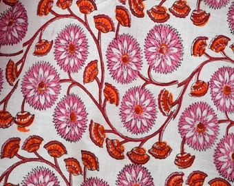 Sewing Crafting Hand Printed Fabric Block Print Cotton Fabric Cotton Fabric by the yard Indian Fabric Quilting cotton summer dress material