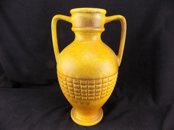 Haeger USA Pottery Two Handled Vase/Urn Yellow and Orange Matt finish