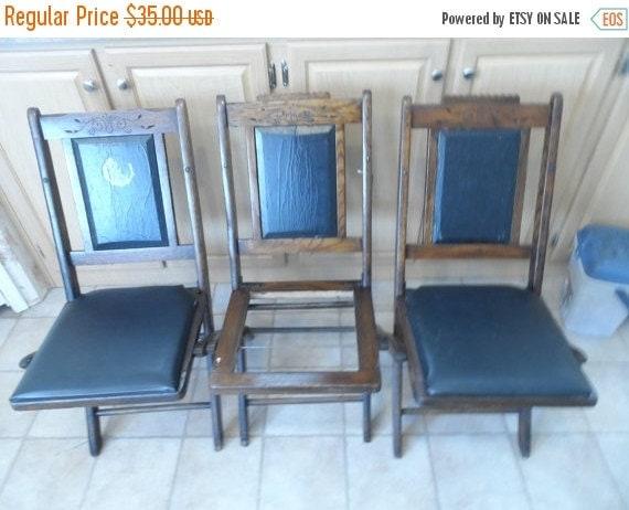 Valentines Antique Oak Folding Chairs-American Legion Oak Folding Chairs marked G.W.Rippley-Tutt Estate