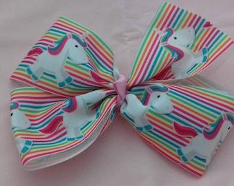 Unicorn Rainbow Oversized Hair Bow, Large Hair Bow Clip, Unique JoJo Type Bow, Young Girls Fashion Gifts, Birthday Presents, Unicorn Fan