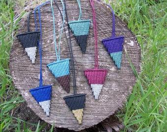 Triangle macrame pendants!