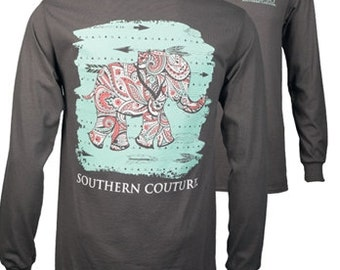 Southern Couture, like Simply Southern,   SC Classic Paisley Elephant - Charcoal short sleeve or long sleeve tee shirt
