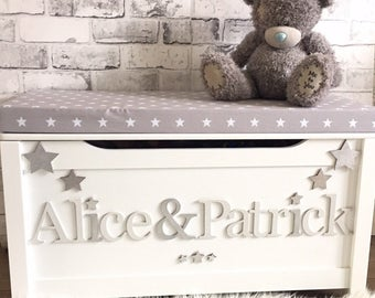 Personalised toy box with cushion
