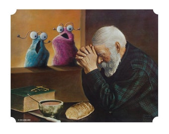 """8"""" by 10"""" print, """"Yip Yip"""" Altered Thrift Store Art"""