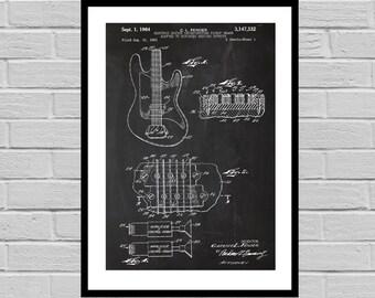 Fender Electric Guitar Poster, Fender Electric Guitar Patent, Fender Guitar Print, Fender Electric Guitar Decor, Fender