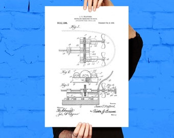 Boat Propellor Patent, Boat Propellor Poster, Boat Propellor Blueprint, Boat Propellor Print, Boat Propellor Art, Boat Propellor Decor