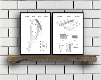 Tennis Patents Set of 2 Prints, Tennis Prints, Tennis Posters, Tennis Blueprints, Tennis Art, Tennis Wall Art, Sport Prints, Sport Art,Sp318