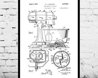 Kitchen Mixer Poster, Kitchen Mixer Poster,  KitchenAid Patent, Kitchen Mixer Print, Kitchen Aid Print, Food Handling Apparatus, KitchenAid