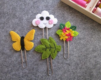 Set of 4 spring Staples: butterfly, leaf, cloud and bouquet-Planner accessories; Bookmarks made of felt.