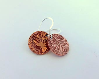 Copper Earrings, Copper Dangle Earrings, Textured Disc Earrings,  Everyday Earrings, Handmade Jewelry, Gift for Her, Copper Anniversary Gift