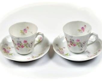 "Vintage Austria ""Bassett Limoges"" Design of Ceramics Tea Cup & Saucer Set of 2"