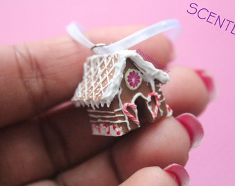 Scented Gingerbread House Necklace, Charm, Ornament