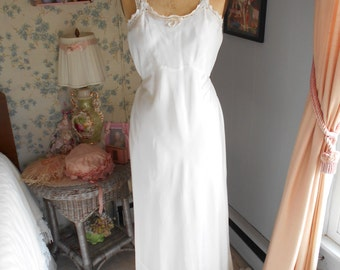 Pretty White 1930's Slip/Nightgown Cut on Bias