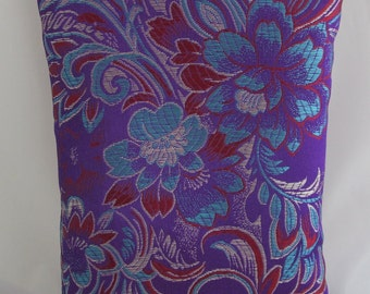 Brocade Tarot Card Bag Purple, Blue and Red with White Satin Lining, Zipper Dice Makeup Pouch Fancy