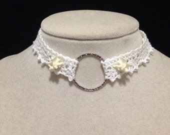 White lace choker with real snake vertebra's