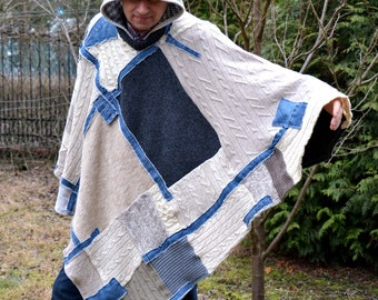 Men's wool poncho large handmade denim