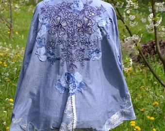 Romantic women blouse denim XL XXL XXXL romantic simplicity slow fashion upcycled clothing wearable art recycled clothing altered clothing