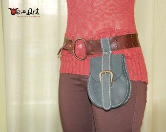 Light Blue Handmade Genuine Leather Hip Belt Purse Fanny Bag