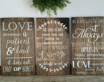 Love is patient Love is kind love never fails set of 3 wood signs 1 Corinthians 13 love chapter rustic signs