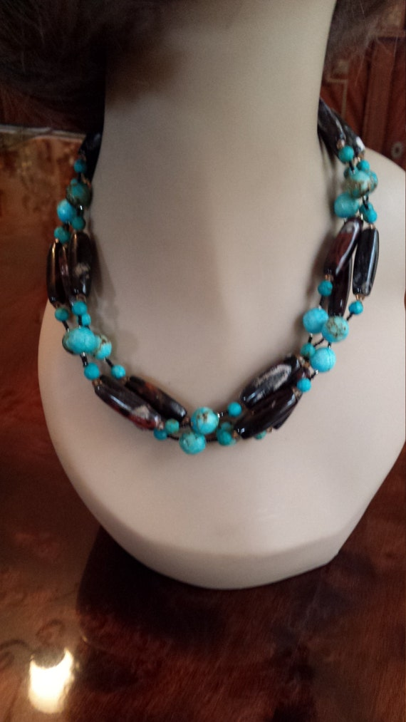 Turquoise and tubed jasper three strand necklace