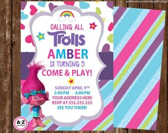 Troll Birthday Invitation, Personalized Invitation, Printable DIY, Troll party, personalized invitation, invite, troll movie, 5x7, diy