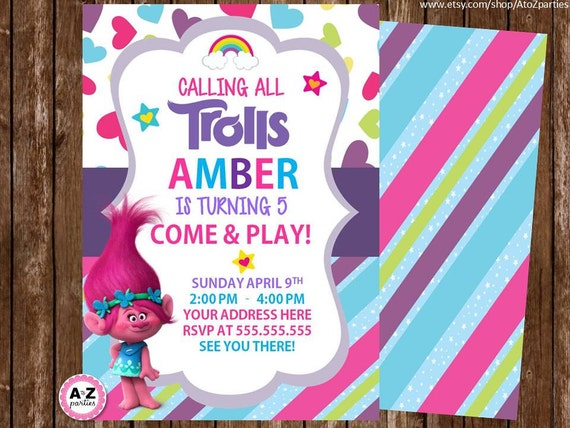 Fan image in trolls printable invitations