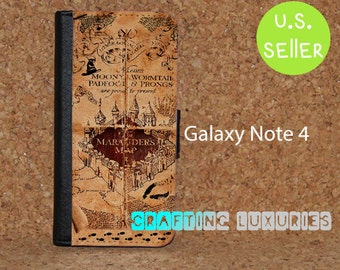 Inspired Harry Potter Map Galaxy Note 4 Flip Case, Wallet Case FREE SHIPPING in US