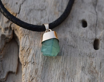 Natural Rough Emerald Pendant set in 14 k Yellow Gold handmade.