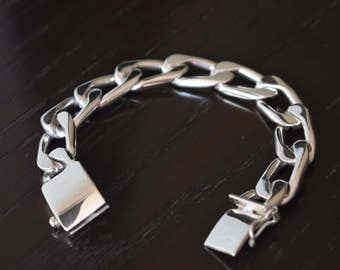 Mens .925 Sterling Silver thick and Heavy bracelet One by One handmade.