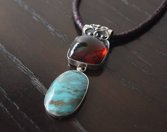 Natural Red Amber and Arizona Turquoise pendant set in .925 Sterling Silver Handmade.