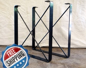 "SET of 2, Metal Dining Table Legs, ""U"" Shaped Industrial Steel Table Legs with ""X"" Steel Rod Cross Pieces FREE SHIPPING"