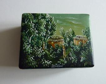 Haitian hand painted box,Jewlery box,Wooden trinket box,Treasure box,