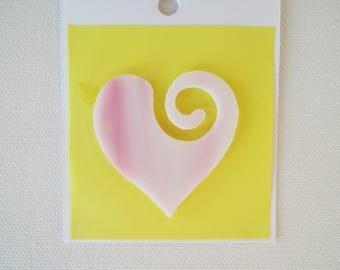96 COE Pink And White Glass Heart Precut