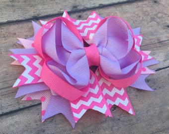 Pink And Purple Hair Bow - Baby Girl Hair Bows - Stacked Bows - Toddler Girl Hairbow - Girl Hair Bows  - hair clip - baby hair bow - hairbow