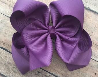 Purple Hair Bow - Big Bow - 6in Hair Bow - Wisteria Bow - Basic Hair Bow - Boutique Hair Bow - Solid Color Hair Bow - Simple Hair Bow