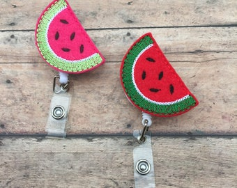 Watermelon Badge Reel - Id holder - Retractable Badge Holder - Tech - Nurse Name Badge Holder - Watermelon - Watermelon Badge clip - summer