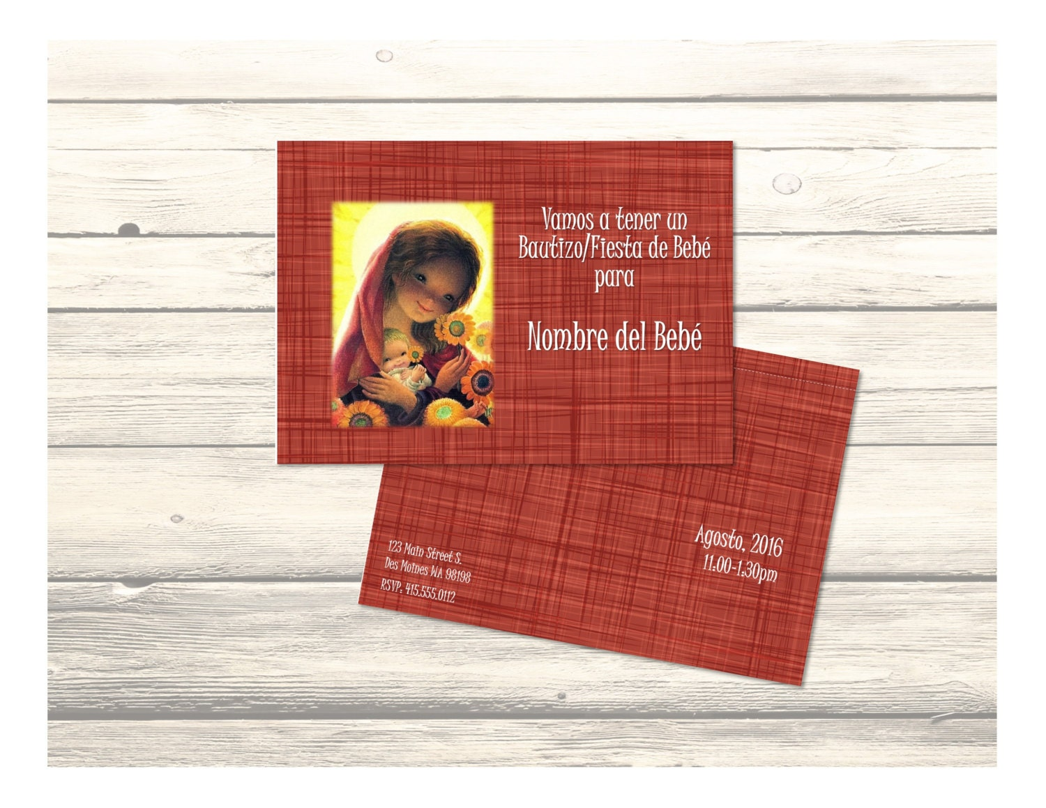 Baptism/Baby Shower Invitation Card Vintage Virgen Mary and Baby ...