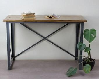 KONK! INDUSTRIAL 'Classic Slim' Oak Desk Table [Bespoke sizes!] Rustic Reclaimed Vintage chic