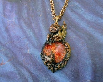 Heart of flame, world of warcraft inspired necklace