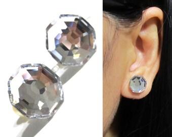 Octagon Swarovski Crystal Clip on earrings |12D| 10mm Clear Rhinestone Clip on stud earrings, Wedding Clip on earring, Bridal clip on, bagua