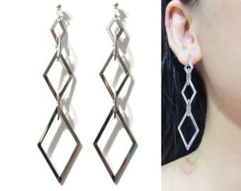 Long Modernist Clip-on Earrings |24L| Geometric Rhombus Diamond Shape Chandelier Silver Clip On Earrings Dangle Non Pierced Clip-ons earring