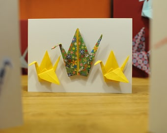 Map, origami crane, crane card, (card with origami paper crane) - baptism, birth, birthday, Christmas card