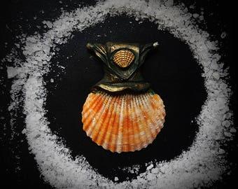 Seaborn Shell Pendant  /Crystal Pendant/Crystal Jewelry/Handmade/Unique/Pagan/Heathen/Amulet