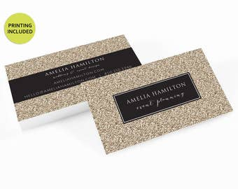 Gold Glitter Printed Business Cards - business cards,business card design,custom business card,cards,printing,hair,makeup,stylist,gold