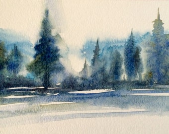 Watercolor trees, misty trees, pine trees, forest, Pacific Northwest, Tree painting, tree watercolor, Conifers, wet in wet