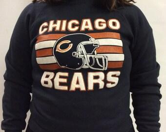 Vintage Chicago Bears Striped Sweatshirt Black