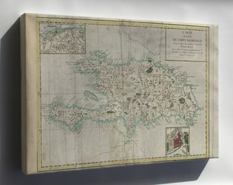 Canvas 24x36; Map Of Hispaniola 1780