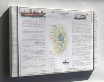Canvas 16x24; 1846 Broadside Of The Collect Pond, New York And Steam Boat ( Five Points )